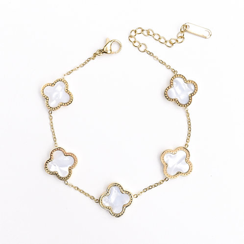 The Love Clove Bracelet, Gold with Pearl