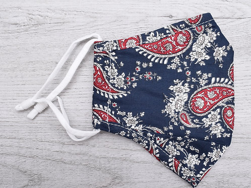 The Navy & Red Paisley Mask