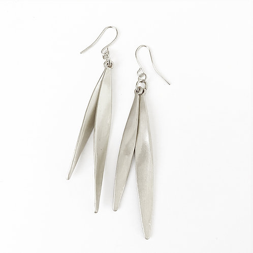Silver Brush Leaf Earrings