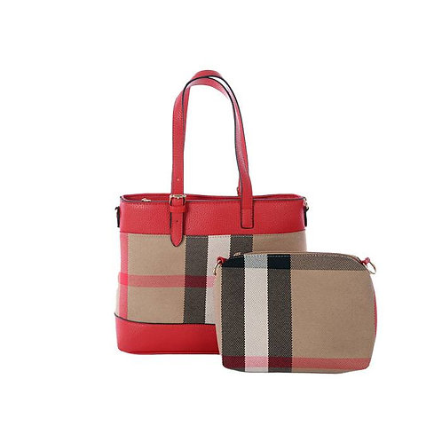 Pretty in Plaid Purse & Pouch Set, Red