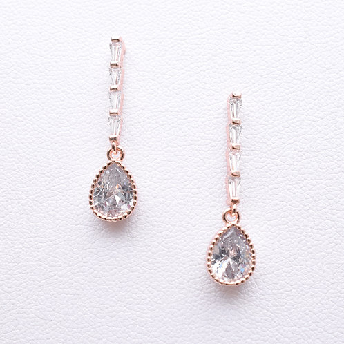 The Edgy Teardrop Earrings, Rose Gold