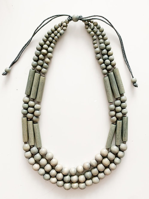Beaded Layered Wood Necklace, Green