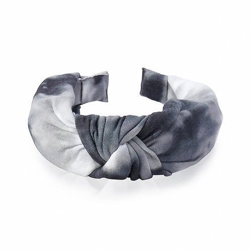 The Clouded Top Knot Headband, Grey