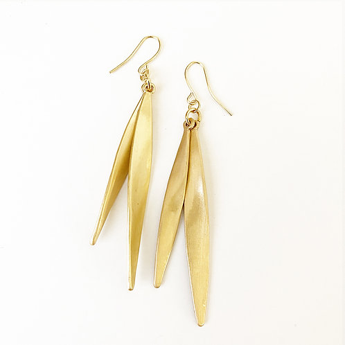 Gold Brush Leaf Earrings