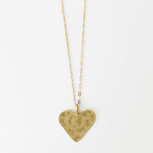 Long Hammered Heart Necklace
