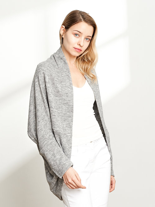 Open-Front Cocoon Sweater, Grey