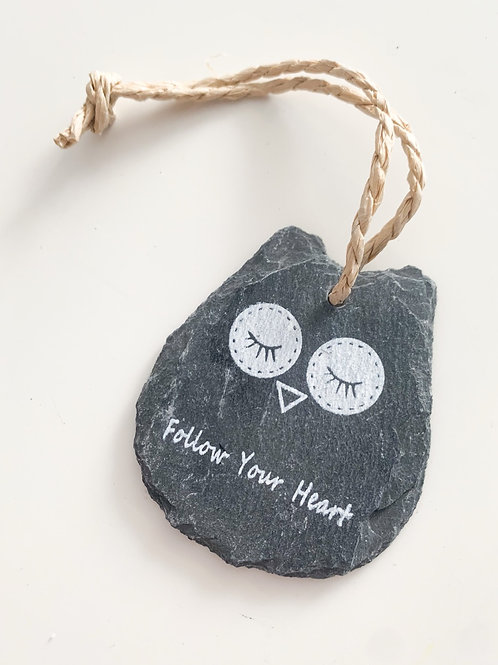 Slate Sentiment Owl, Follow Your Heart