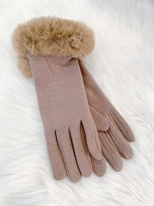The Fur Cuff Glove, Tan