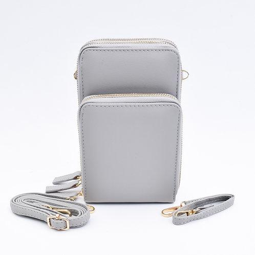 3 Zip Cellphone Wristlet & Crossbody, Grey