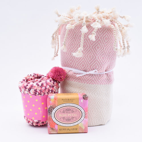 Towel, Soap & Socks Set, Rose Petal