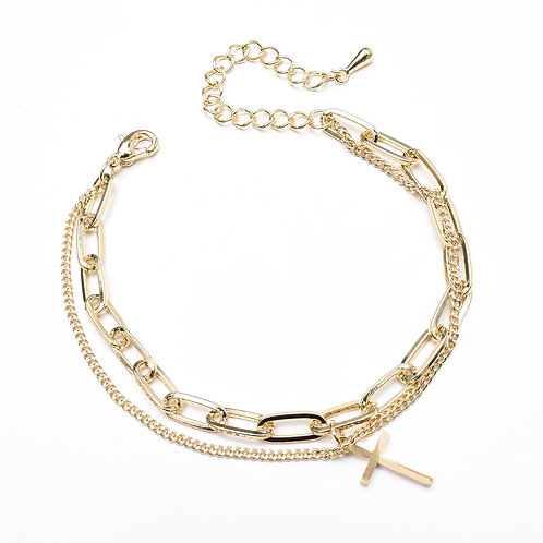The Double Chained Cross Bracelet