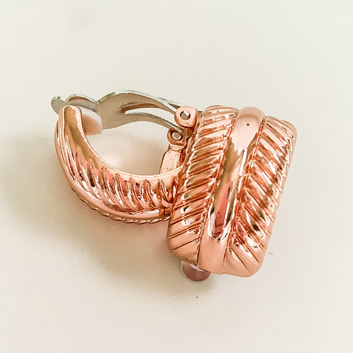Rose Gold Rippled Curb Clip Ons