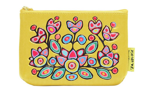 Norval Morrisseau Floral on Yellow Coin Purse
