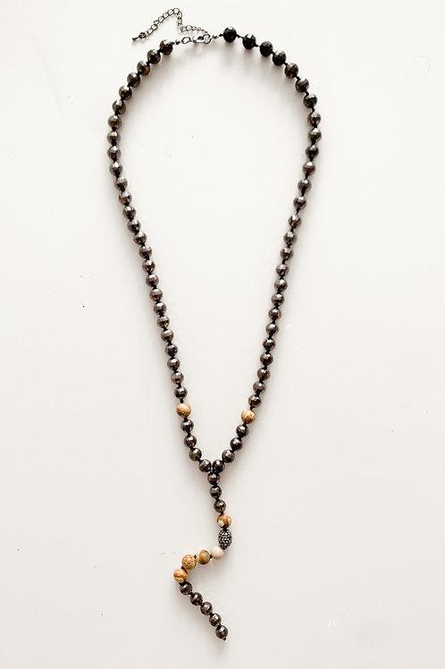 Y-Shaped Semi Precious Necklace, Black & Tan