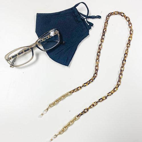 2-in-1 Mask/Glasses Chain, Tortoise