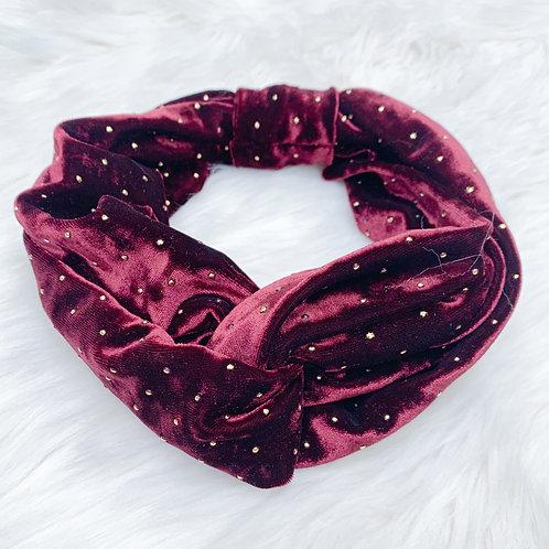 Velvet Top Knotted Headband, Red