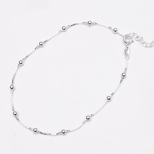 3mm Bead Sterling Silver Anklet