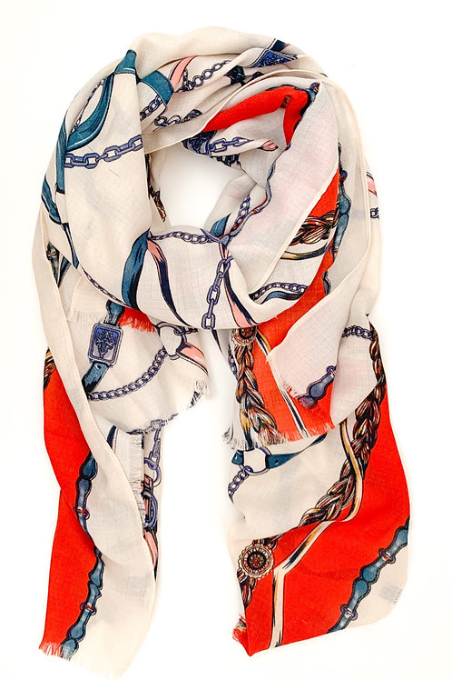 Ropes and Chains Scarf, Cream with Red