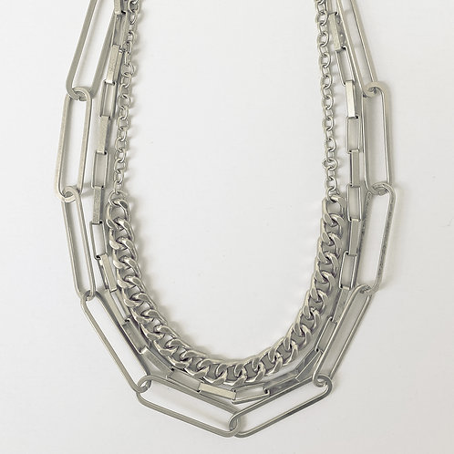 Paperclip & Curb Chain Statement Necklace