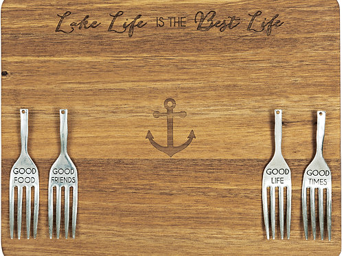 """Lake Life - 9"""" Acacia Cheese/Bread Board Set"""