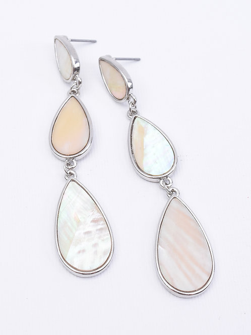 Triple Pearl TearDrop Earrings, Silver