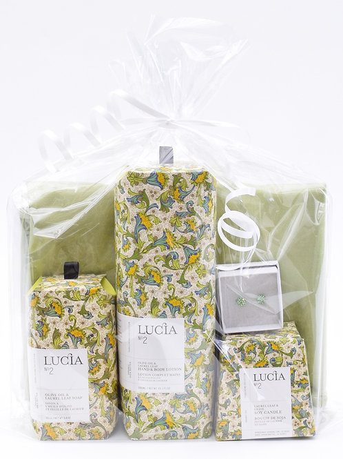 Lucia- Laurel Leaf & Olive Self Care Kit with Scarf & Earrings