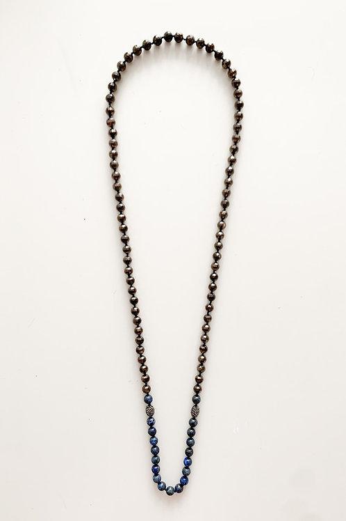 Long Strand Semi Precious Necklace, Brown & Blue