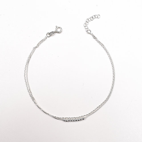 Double Strand Sterling Silver Anklet