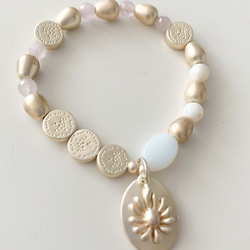 The Summer Sunrise Beaded Stretch Bracelet, Matte Gold