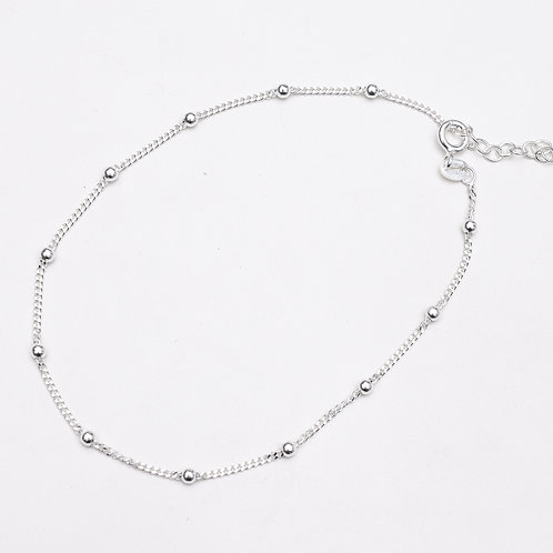 2.5mm Bead Sterling Silver Anklet