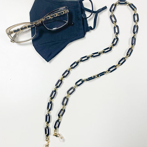 2-in-1 Mask/Glasses Chain, Black