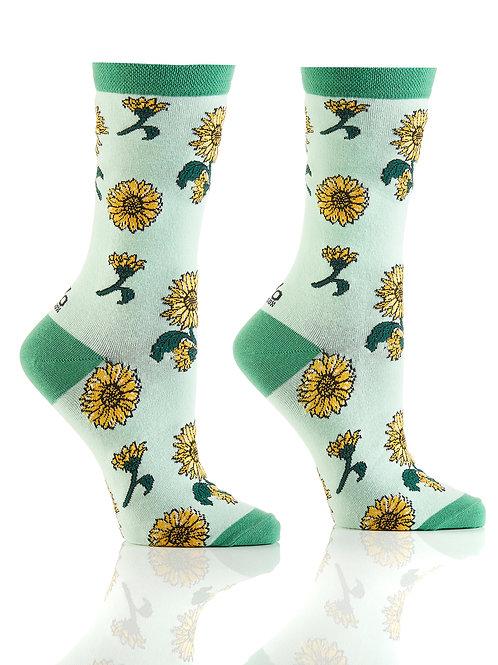 Women's Crew Socks, Sunflower