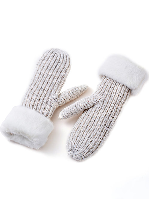 The White Sequin Mittens