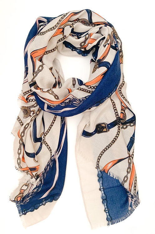 Ropes and Chains Scarf, Cream with Navy