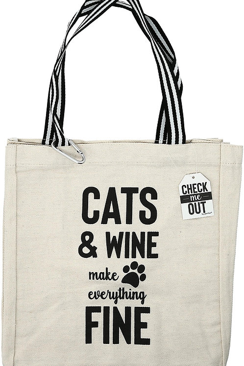 Cats & Wine - 100% Cotton Twill Gift Bag