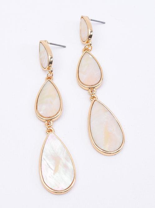 Triple Pearl TearDrop Earrings, Gold