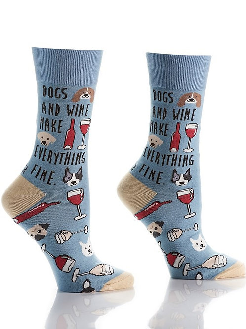 Women's Crew Socks, Dogs & Wine