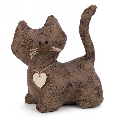 Brown Faux Leather Cat Door Stopper