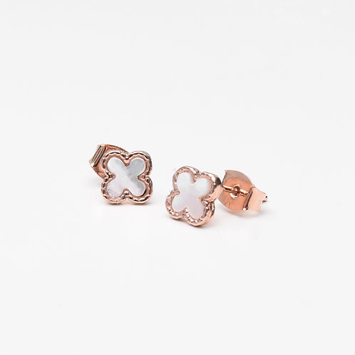 Tiny Clover Stud, Mother of Pearl Rose Gold