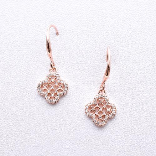The Encrusted Clover Earrings, Rose Gold