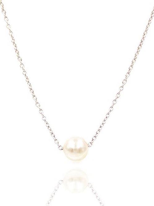 Single Pearl Collar Necklace, Silver