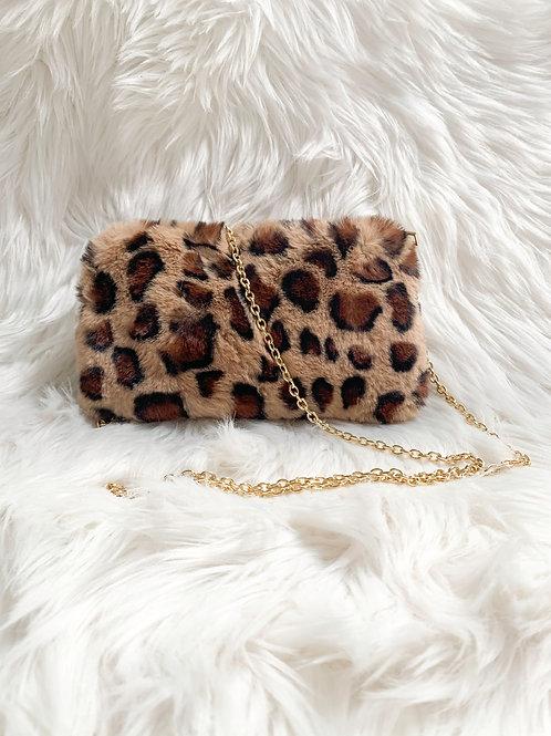 Faux Fur Leopard Crossbody