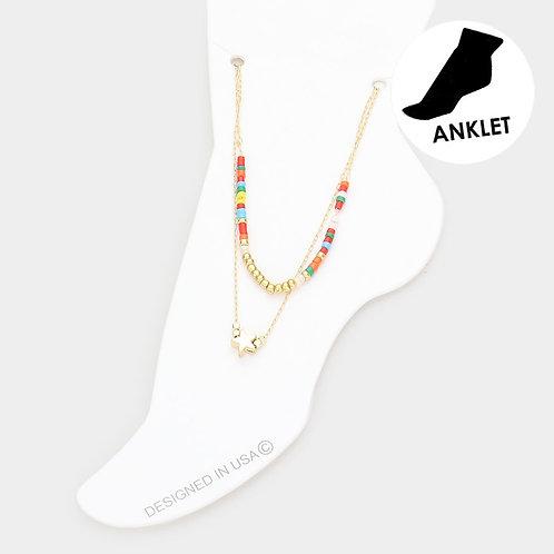 Dainty Beaded Star Anklet, Multi-colour