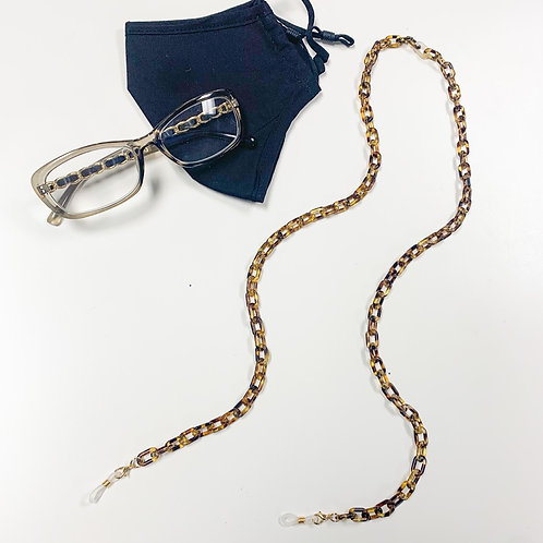 2-in-1 Mask/Glasses Chain, Tortoise Shell