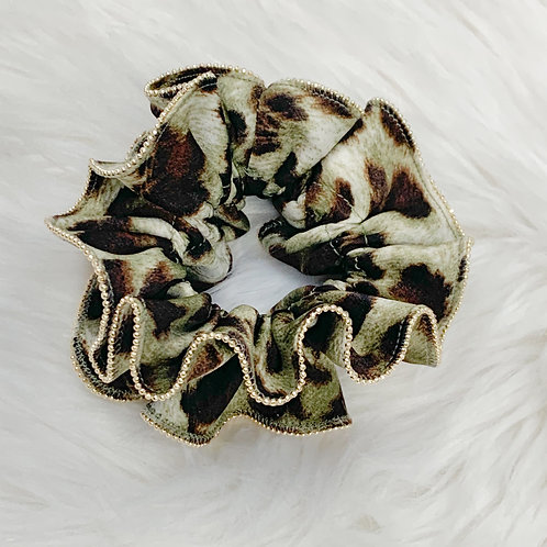Gold Trim Large Animal Print Scrunchie