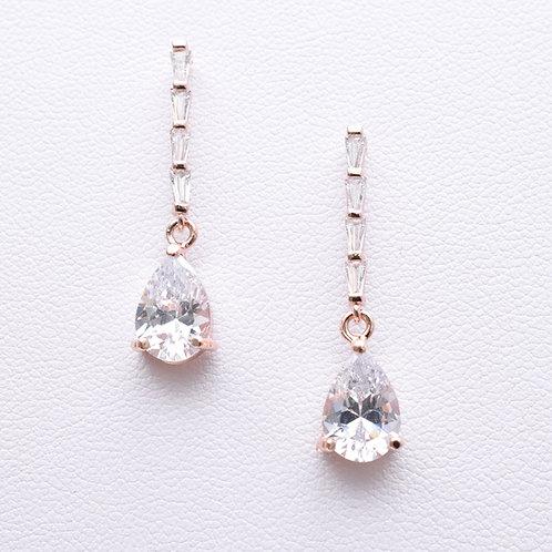 The Princess Pear Drop Earrings, Rose Gold