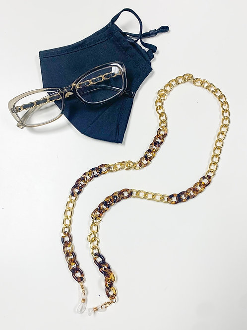 2-in-1 Mask/Glasses Chain, Tortiose & Gold
