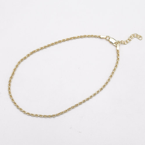 2mm Rope Chain Sterling Silver Anklet