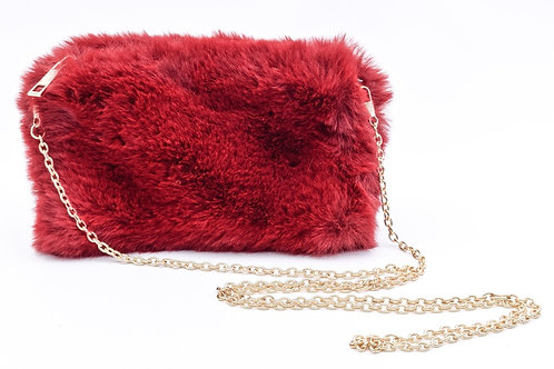 Faux Fur Red Crossbody/Cosmetic Pouch