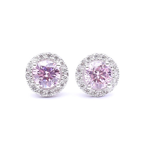 The Halo Stud,925 Silver, Pink